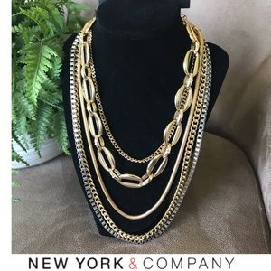 NWT New York & Company Gold Layered Link Necklace